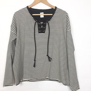 NSF Striped Long Sleeve Lace Up Tunic Top